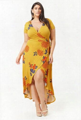 Plus Size Floral Mock Wrap Maxi Dress