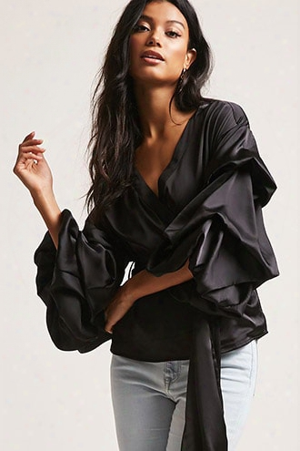 Satin Puff-sleeve Top