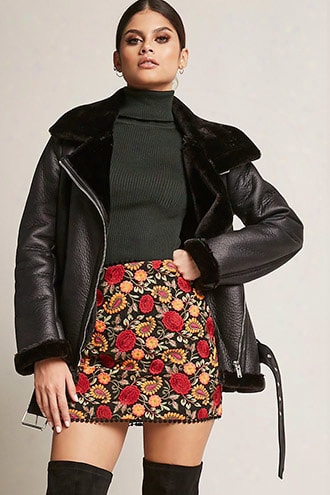 Selfie Leslie Floral Embroidered Skirt