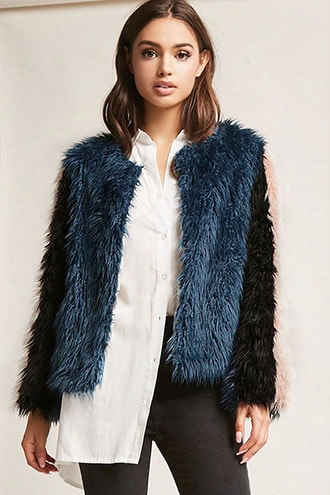 Shaci Faux Fur Colorblock Jacket