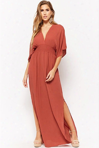 Sheer Plunging Smocked Maxi Dress