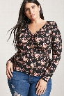 Plus Size Ruched Floral Top