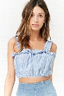 Ruffled Pinstripe Crop Top