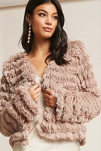 Tiered Fringe Open-front Cardigan