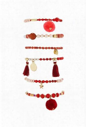 Beaded Charm Stretch Bracelet Set