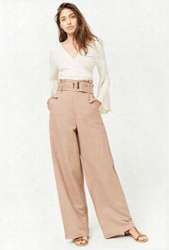 Belted Linen-blend Wide-leg Pants