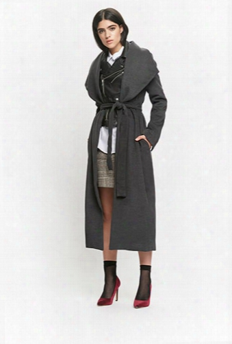 Brushed Knit Wrap Coat