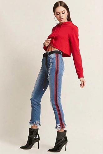 Distressed Frayed Stripe Jeans