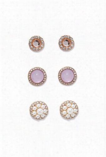 Faux Gem Earring Set