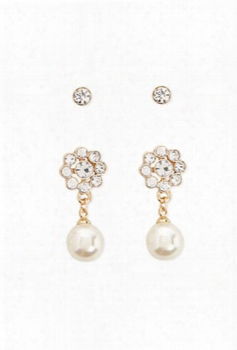 Faux Pearl Drop Earring & Rhinestone Stud Set