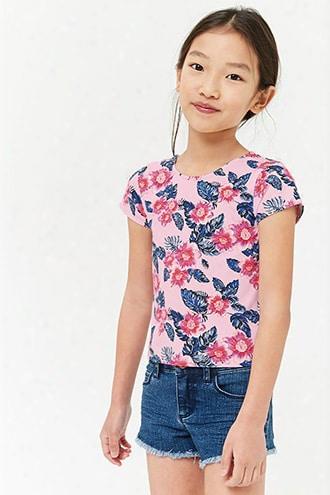 Girls Floral Scoop-back Tee (kids)