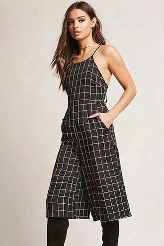 Grid Print Wide-leg Jumpsuit