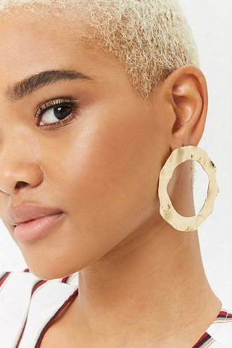 Hammered Drop Hoop Earrings