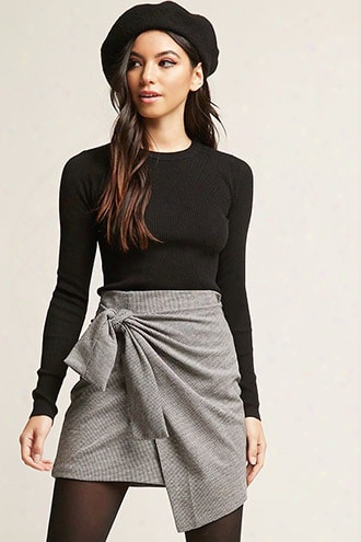 Herringbone Mini Wrap Skirt