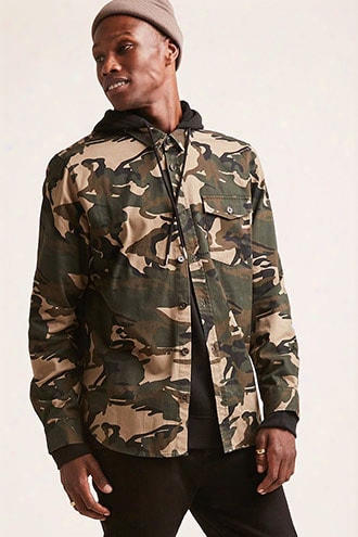 Hooded Camo Cargo Shirt