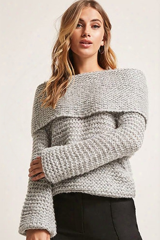 Marled Honeycomb Knit Off-the-shoulder Sweater