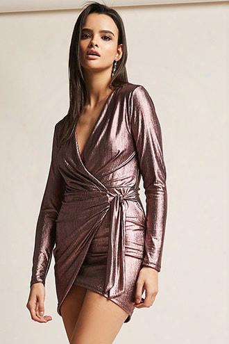 Metallic Surplice Self-tie Dress
