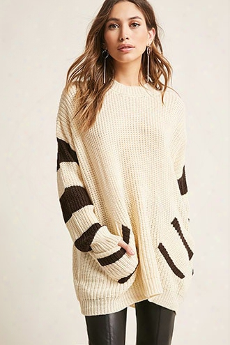 Oversized Stripe-trim Sweateer