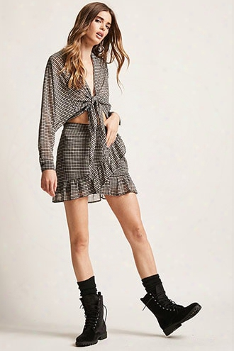 Plaid Ruffle Mini Skirt