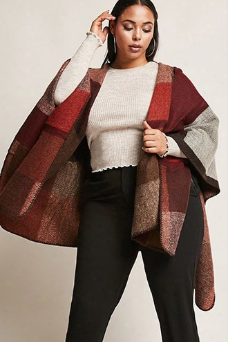 Plus Size Colorblocked Hooded Shawl