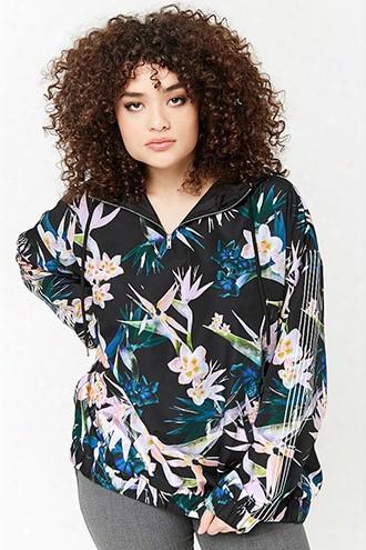 Plus Size Floral Print Anorak
