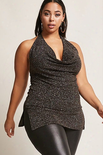 Plus Size Glitter Halter Dress