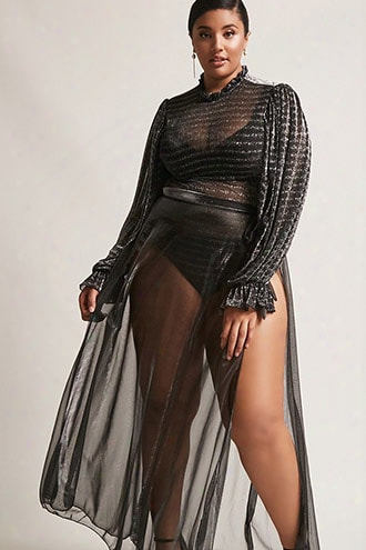 Plus Size Metallic Wrap Skirt