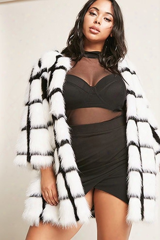 Plus Size Shaci Faux Fur Open-front Jacket