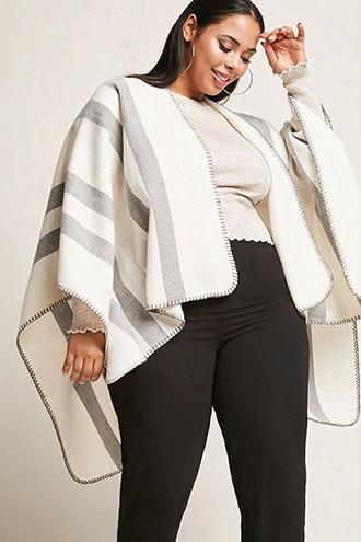 Plus Size Striped Shawl