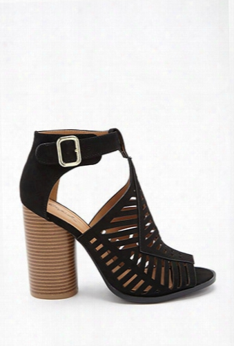 Qupid Faux Suede Cutout Heels