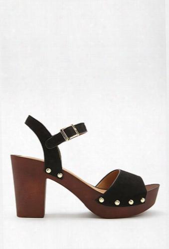 Qupid Faux Suede Platform Clog Sandals