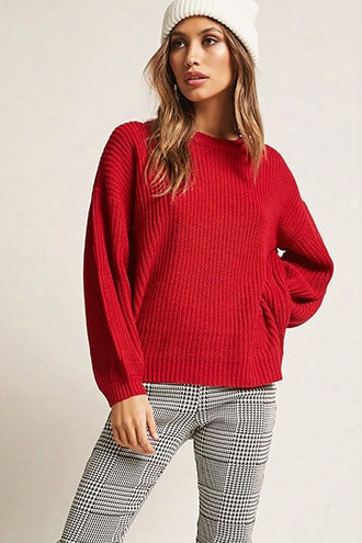 Ribbed Lantern-sleeve Sweater