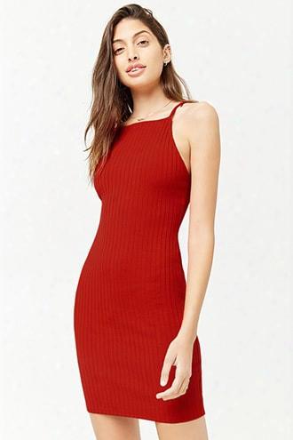 Ribbed Strappy-back Mini Dress