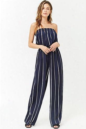 Satin Striped Strapless Jumpsuit