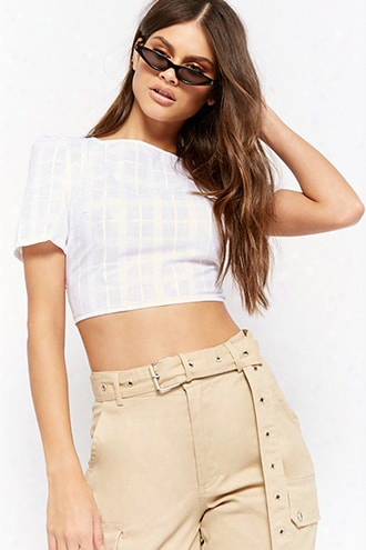 Sheer Plaid Print Open-back Crop Top