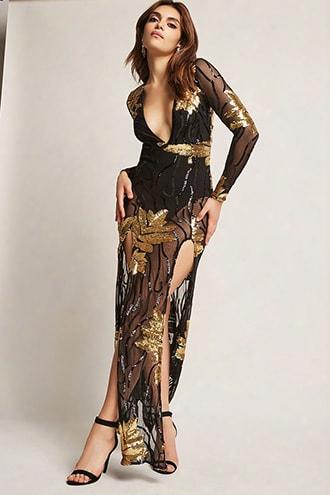 Sheer Sequin Foliage M-slit Dress