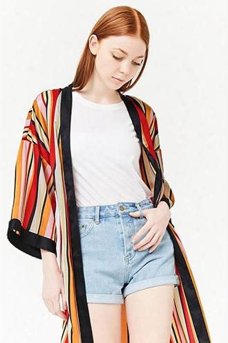 Striped Satin Kimono