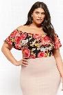 Plus Size Flounce Floral Bodysuit