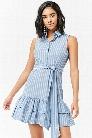 Striped Flounce-Hem Dress