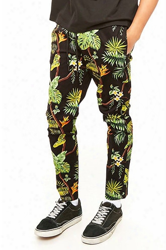 Tropical Print Drawstring Pants