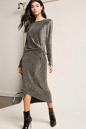 Twist-front Lurex Maxi Dress