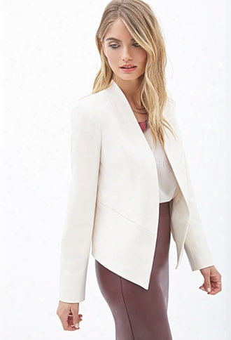 Contemporary Open-front Collarless Blazer