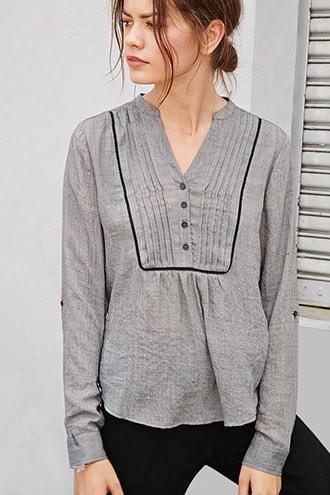 Crochet-trim Pintucked Top