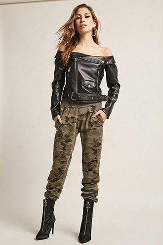 Distressed French Terry Camo Joggers