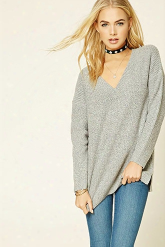 Dropped-sleeve V-neck Sweater