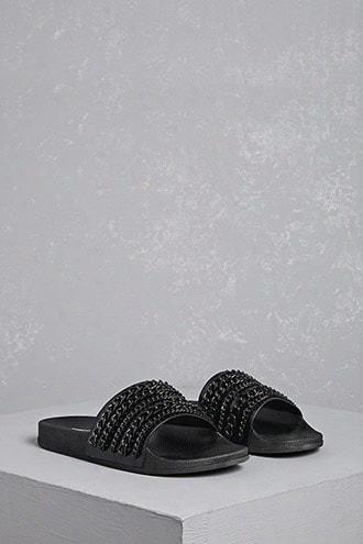 Embellished Faux Leather Slides