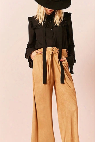 Faux Suede High-waist Pants