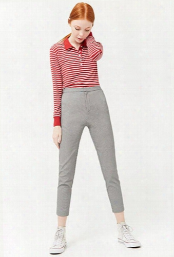 Houndstooth High-rise Pants