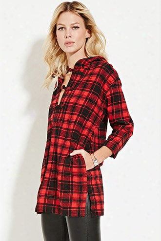 Longline Hooded Plaid Top