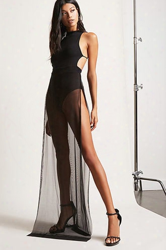 Mesh-panel Halter Maxi Dress